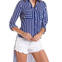 Striped High-Low Button-Up Top by Charlotte Russe