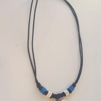 Tooth of Shark Necklace w/ Blue Cartilage Bone Beads