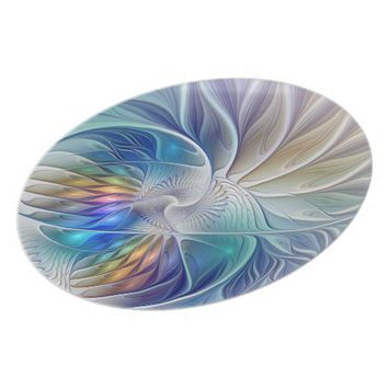 Floral Fantasy, abstract and modern Fractal Art Melamine Plate