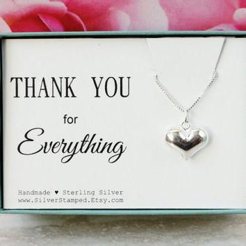 Thank you gift sterling silver heart necklace box gift for best friend, hostess, nanny, babysitter, petsitter, hank you for everything