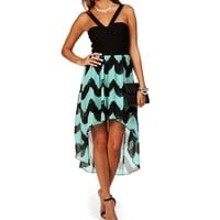 Mint/Black Chevron Hi Lo Dress