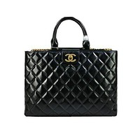 Chanel big black diamond Leather Shoulder Bag Handbag