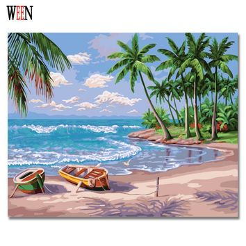 Sandy beach Painting By numbers on canvas Modern DIY Boat Wall Pictures Coloring By Numbers For Living Room Decor 2017 Gift Art