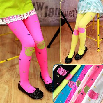 Cat Baby Girl Tights Infant Fille Knitted Collant Stockings Cotton Candy Color Ballet Dance Velvet Toddler Tights
