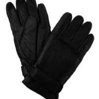 Isotoner Men's Thinsulate Lined Leather Gloves with Wool Back- Black