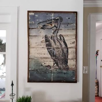 Pelican weathered reclaimed wood wall art