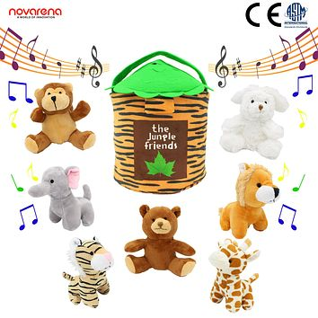 "Talking Plush Animals: 8-Piece Jungle Friends Stuffed 6"" Animals+ Plush Toy 12"" House Bag Set
