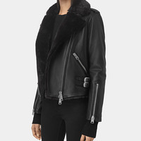 ALLSAINTS US: Womens Higgens Lux Leather Biker Jacket (Black/Black)