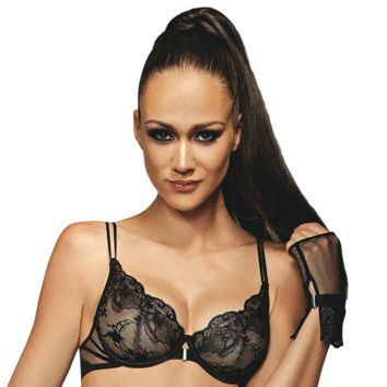 SHEER LACE DEMI WIRED BRA LISCA ONYX (LS10210)