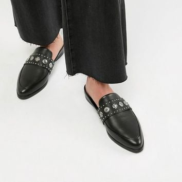 Sol Sana Leather Stud Detail Mule in Black at asos.com