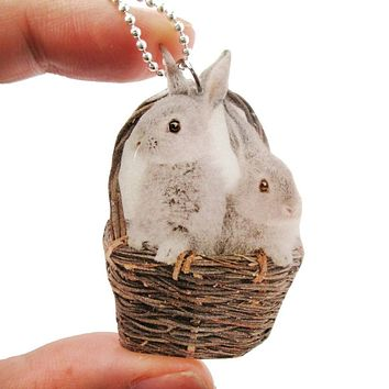 Realistic Bunnies in a Basket Animal Shaped Pendant Necklace | Handmade