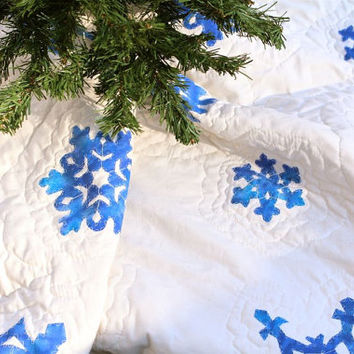 Tree skirt- Quilted Christmas tree skirt, hand painted blue snowflakes, eco friendly organic