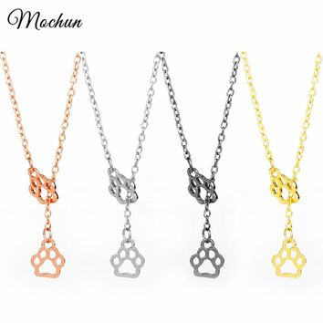 MQCHUN Cute Creative Palm Pendant Dog Cat Paw Print Charm Choker Necklace For Animal Love Family Gift Women Girls Jewelry 2017