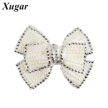 4'' Solid Pearl Two Layer Hair Bow Sweet Hair Clip For Children Girls Fashion Hairpins Baby Hair Accessories