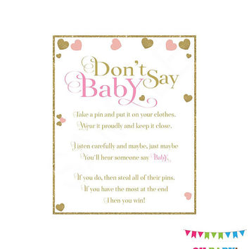 Don't Say Baby. Don't Say Baby Clothespin. Don't Say Baby Sign. Pink and gold Baby Shower. Girl Baby Shower Games. Printable Downloads. PGH