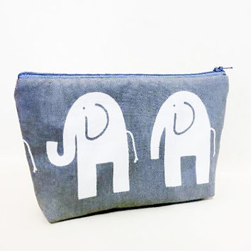 Medium Zipper Pouch Cosmetic Bag Toiltery Bag Pouch Happy Grey Elephants