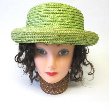 Lime Green Hat Boater Straw Millinery Womens