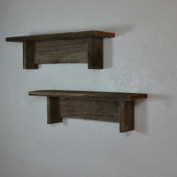 dark gray set of upcycled wood wall shelves 17x4