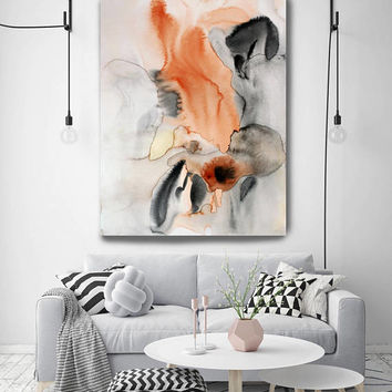 "Watercolor Symphony 17. Watercolor Abstract Brown Black Orange Canvas Art Print up to 72"" by Irena Orlov"