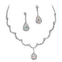 Elegant Iridescent AB Scallop Y Drop Crystal Bridesmaid Bridal Necklace Earring Set Wedding Bling O6