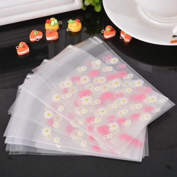 LASPERAL 50/100PCs Daisy Flower Eiffel Tower Lace Pattern Self Adhesive Seal Frosted Plastic Bag Cookie Storage Gift Package Bag