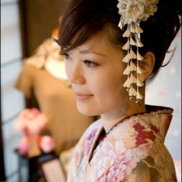 Japanese traditional Style tessel Flowers kimono cloth flower yukata Classic cosplay decoration headwear hair accessories