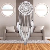 Indian Style Handmade Lace Dream Catcher Windchimes with White Feather Car Wall Hanging Dreamcatcher Home Decoration Ornament