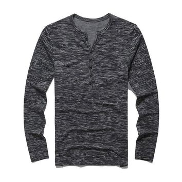 Heathered Henley Charcoal