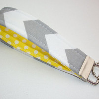 Key FOB / KeyChain / Wristlet key strap  - Gray Chevron zig zag with white polka dots on yellow soft - gift for her under 10