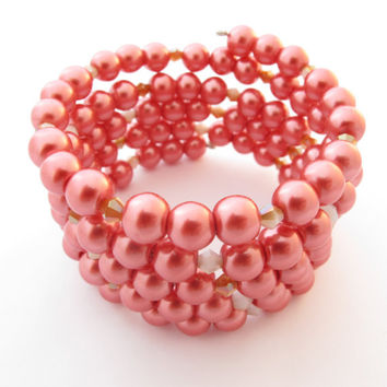 Cranberry Red Bracelet, Beaded Wrap Cuff