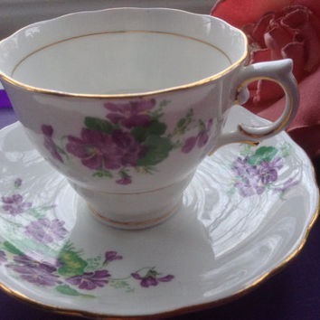 Colclough Tea Cup and Saucer England Bone China Violets Leaves Floral Gold Tea Party Collectible Floral Bridal Wedding Mother's Day Gift