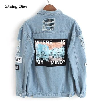 Trendy Where is my mind? Korea retro washing frayed embroidery letter patch bomber jacket Blue Ripped Distressed Denim Coat Female AT_94_13