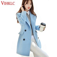 2017 New Autumn Winter Clothes Woman Mid Long Design Wool Coat Female Fashion Slim Full Blends Trench Overcoat H301