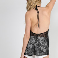 Sassy Open Back Lacey Halter Top - Black