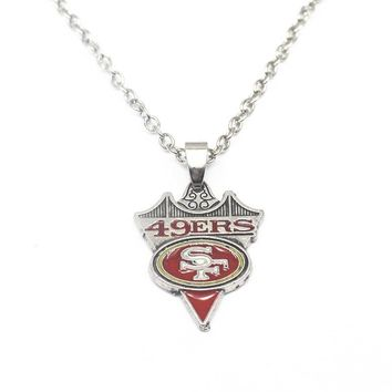 1pcs/lot Arrow Enamel Football San Francisco 49ers Pendant Necklace With 50cm Chains Necklace For Women Necklace Jewelry