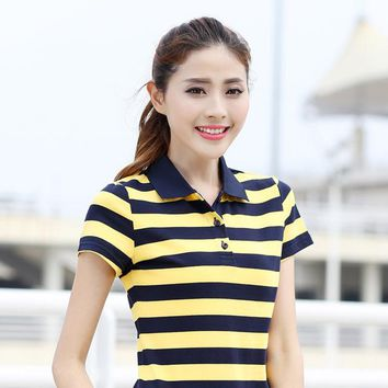 Women New Polo Shirt Striped Female Big Size Tee Classic Cotton Tops Short Sleeve Turn Down Collar Tennis Golf T-Shirts