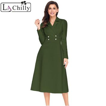 La Chilly Robe Hiver 2018 Winter Dresses Women Black Vestido Vintage Button Collared Fit-and-flare Long Sleeve Dress LC61803