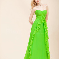 Amazing Shiny Green A-line Sweetheart Neckline Sweep Train Prom Dress