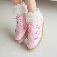 Sweet students pink oxfords shoes