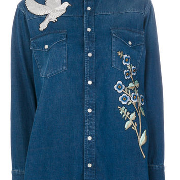 Alexander McQueen Embroidered Denim Shirt - Farfetch