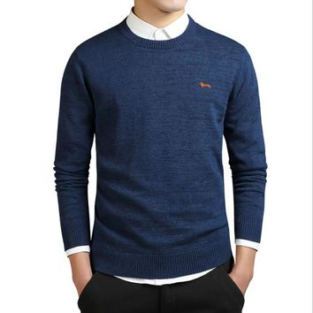 2017 New spring fashion brand casual knitted sweater mens 100%cotton harmont solid pullover men O-neck Blaine slim fit sweaters