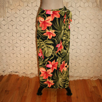 Vintage 90s Sarong Skirt Tropical Floral Wrap Skirt Summer Maxi Skirt Beach Hawaiian  Vacation Size 6 Size 8 Small Medium Womens Clothing