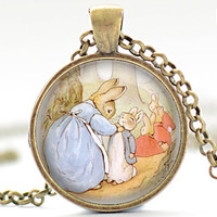 Peter Rabbit Necklace, Beatrix Potter Art Pendant, Bunny Necklace, Bunny Rabbit Jewelry (029)