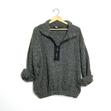 90s Grunge Zip Up Pullover Sweater Coat Chunky Knit Boyfriend Sweater Jacket Speckled Ribbed Wool Cotton Slouchy sweater unisex Large