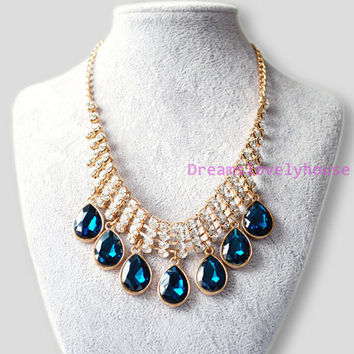Mother's Day Gift,Gorgeous sapphire, Rhinestone necklace, Gold metal necklace,Vintage necklace,Wedding necklace, antique necklace, N-2