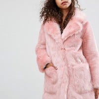 ASOS PETITE Midi Coat in Plush Faux Fur at asos.com