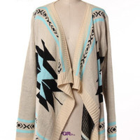 Mint/Ivory/Black Tribal Cardigan