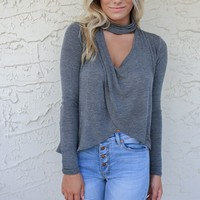 Give Me Love Dark Grey Mock Neck Long Sleeve Swing Top
