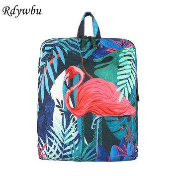 Rdywbu Korean Designer Tropical Rain Forest Koala And Flamingo Printing Backpack Cartoon 3D Animal School Bag For Teenager H135