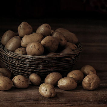 Food photography, art for kitchen, large slim wrap print 12x16, kitchen food art photo print, rustic brown,  potatoes still life art print